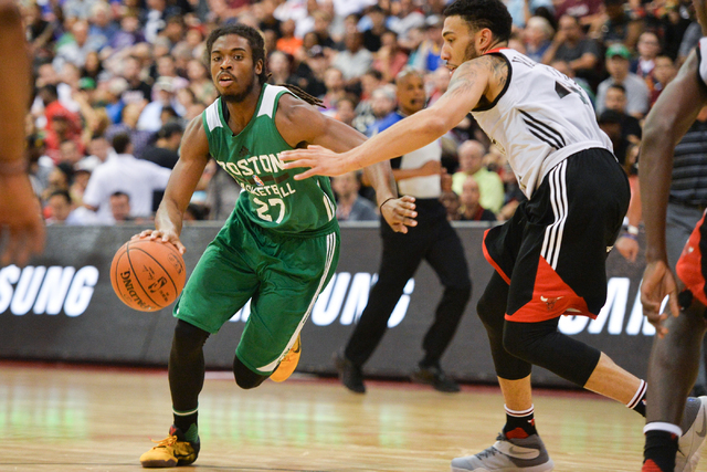Marcus Thornton (27), of the Boston Celtics, drives the ball to hoop during an NBA Summer League game against the Chicago Bulls at the Cox Pavilion in Las Vegas on Saturday, July 9, 2016. (Brett L ...