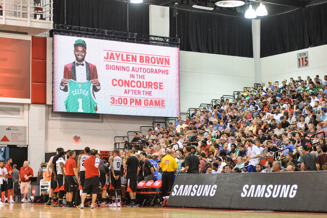 An advertisement for an autograph session by Jaylen Brown is displayed during an NBA Summer League game between the Boston Celtics and the Chicago Bulls at the Cox Pavilion in Las Vegas on Saturda ...
