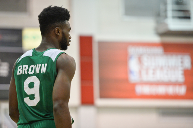 Jaylen Brown (9), of the Boston Celtics, walks the sideline during an NBA Summer League game against the Chicago Bulls at the Cox Pavilion in Las Vegas on Saturday, July 9, 2016. (Brett Le Blanc/L ...
