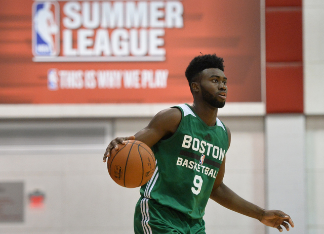 Jaylen Brown (9), of the Boston Celtics, looks for an open man during an NBA Summer League game against the Chicago Bulls at the Cox Pavilion in Las Vegas on Saturday, July 9, 2016. (Brett Le Blan ...