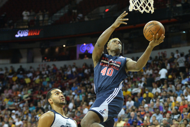 Danuel House (40), of the Washington Wizards, shoots a lay up during an NBA Summer League game against the Utah Jazz at the Thomas & Mack Center in Las Vegas on Saturday, July 9, 2016. (Brett  ...