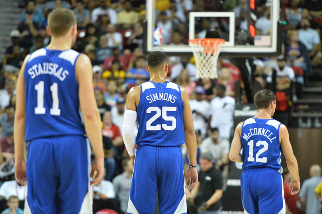 Philadelphia 76ers forward and number one overall draft pick Ben Simmons (25) plays during an NBA Summer League game against the Los Angeles Lakers at the Thomas & Mack Center in Las Vegas on  ...