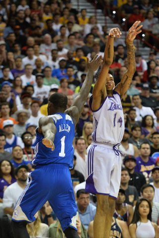 Los Angeles forward Brandon Ingram (14) shoots the ball during an NBA Summer League game against the Philadelphia 76ers at the Thomas & Mack Center in Las Vegas on Saturday, July 9, 2016. Bret ...