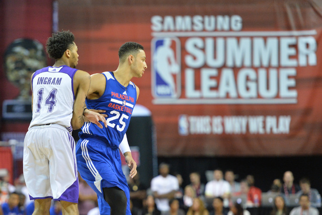 Number one and two draft picks Ben Simmons (25) and Brandon Ingram (14) battle for position during an NBA Summer League game at the Thomas & Mack Center in Las Vegas on Saturday, July 9, 2016. ...