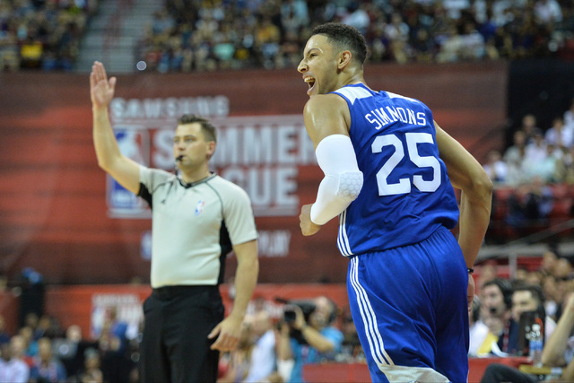 Philadelphia 76ers forward Ben Simmons (25) reacts to shot during an NBA Summer League game against the Los Angeles Lakers at the Thomas & Mack Center in Las Vegas on Saturday, July 9, 2016. B ...