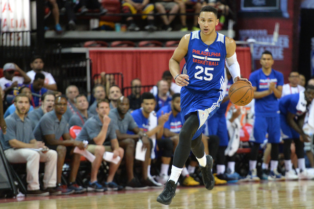 Philadelphia 76ers forward Ben Simmons (25) dribbles the ball down court during an NBA Summer League game against the Los Angeles Lakers at the Thomas & Mack Center in Las Vegas on Saturday, J ...