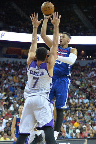 Philadelphia 76ers forward Ben Simmons (25) shoots the ball during an NBA Summer League game against the Los Angeles Lakers at the Thomas & Mack Center in Las Vegas on Saturday, July 9, 2016.  ...