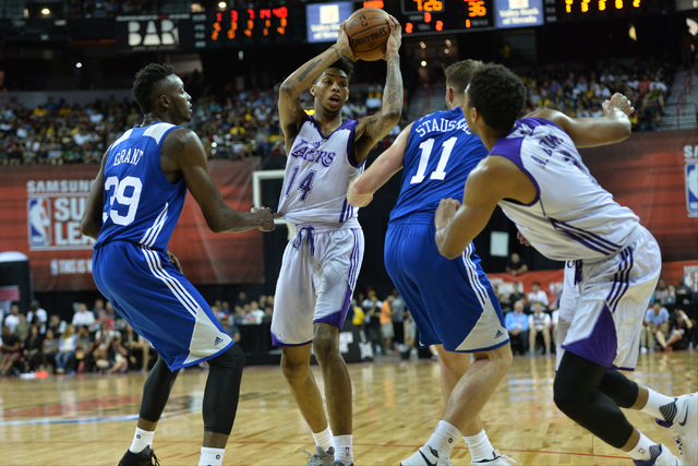 Los Angeles forward Brandon Ingram (14) looks for an open teammate during an NBA Summer League game against the Philadelphia 76ers at the Thomas & Mack Center in Las Vegas on Saturday, July 9, ...