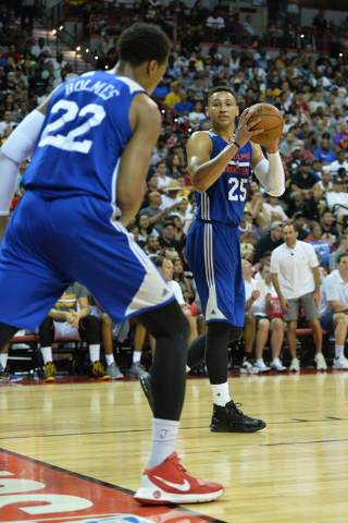 Philadelphia 76ers forward Ben Simmons (25) catches a pass during an NBA Summer League game against the Los Angeles Lakers at the Thomas & Mack Center in Las Vegas on Saturday, July 9, 2016. B ...