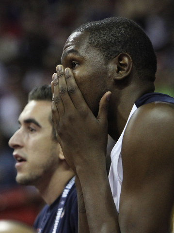 Kevin Durant reacts after Paul George broke his leg during the USA Basketball Showcase intrasquad game at the Thomas & Mack Center in Las Vegas on Friday, Aug. 1, 2014. (Jason Bean/Las Vegas R ...