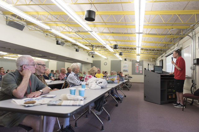 Howie Sussman, right, speaks to students during his Osher Lifelong Learning Institute class on Winston Churchill at UNLV's Educational Outreach Center in Las Vegas Wednesday, June 29, 2016. OLLI c ...
