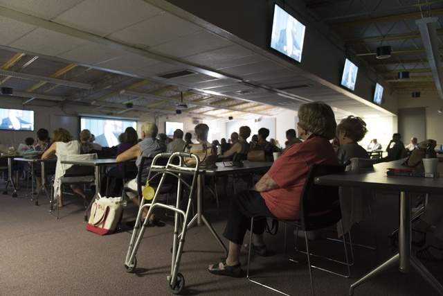 Students in Howie Sussman's  Osher Lifelong Learning Institute class on Winston Churchill watch a documentary film at UNLV's Educational Outreach Center in Las Vegas Wednesday, June 29, 2016. OLLI ...