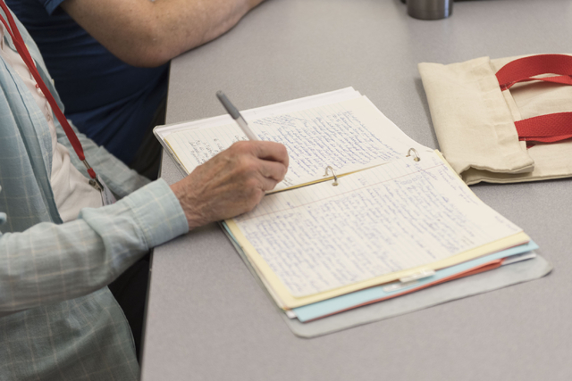 A student takes notes during Howie Sussman's  Osher Lifelong Learning Institute class on Winston Churchill at UNLV's Educational Outreach Center in Las Vegas Wednesday, June 29, 2016. OLLI classes ...