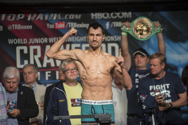 Boxer Viktor Postol is seen weighing-in ahead of his Junior Welterweight title fight against Terence Crawford at the MGM Grand Garden Arena in Las Vegas on Friday, July 22, 2016. (Martin S. Fuente ...