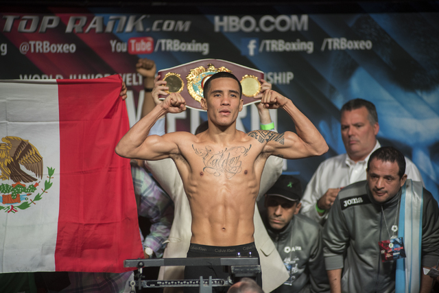 Boxer Oscar Valdez Jr. is seen weighing-in ahead of his Featherweight title fight against Matias Rueda at the MGM Grand Garden Arena in Las Vegas on Friday, July 22, 2016. (Martin S. Fuentes/Las V ...