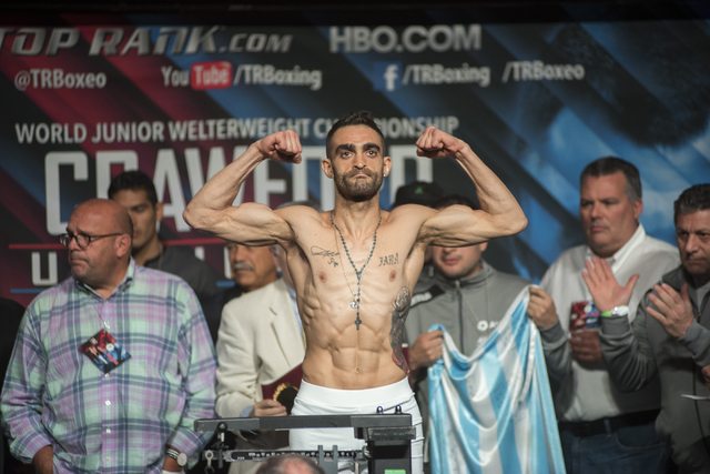 Boxer Matias Rueda is seen weighing-in ahead of his Featherweight title fight against Oscar Valdez Jr., at the MGM Grand Garden Arena in Las Vegas on Friday, July 22, 2016. (Martin S. Fuentes/Las  ...
