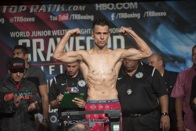 Boxer Francisco Santana is seen weighing-in ahead of his welterweight fight against  Jose Benavidez Jr. at the MGM Grand Garden Arena in Las Vegas on Friday, July 22, 2016. (Martin S. Fuentes/Las  ...