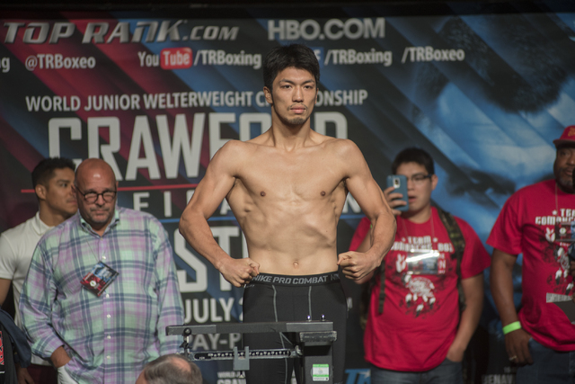 Boxer Ryoto Murata is seen weighing-in ahead of his middleweight fight against George Tahdooahnippah at the MGM Grand Garden Arena in Las Vegas on Friday, July 22, 2016. Martin S. Fuentes/Las Vega ...