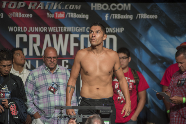 Boxer George Tahdooahnippah is seen weighing-in ahead of his middleweight fight against Ryoto Murata at the MGM Grand Garden Arena in Las Vegas on Friday, July 22, 2016. (Martin S. Fuentes/Las Veg ...