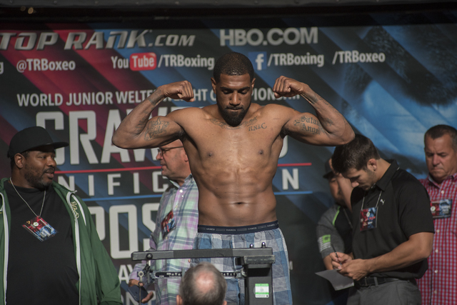 Boxer Steve Nelson is seen weighing-in ahead of his light heavyweight fight against Tim Meek at the MGM Grand Garden Arena in Las Vegas on Friday, July 22, 2016. (Martin S. Fuentes/Las Vegas Revie ...