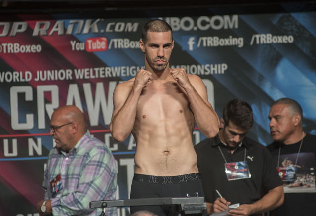 Boxer Tim Meek is seen weighing-in ahead of his light heavyweight fight against Steve Nelson at the MGM Grand Garden Arena in Las Vegas on Friday, July 22, 2016. (Martin S. Fuentes/Las Vegas Revie ...