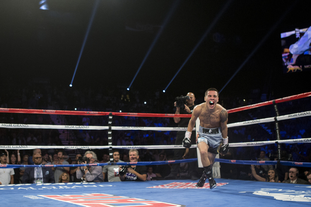 Oscar Valdez Jr. celebrates his win against Matias Rueda in the featherweight title bout for the vacant WBO World Title at the MGM Grand Garden Arena on Saturday, July 23, 2016, in Las Vegas.(Erik ...