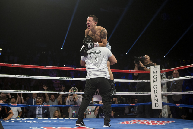 Oscar Valdez Jr. celebrates his win against Matias Rueda in the featherweight title bout for the vacant WBO World Title at the MGM Grand Garden Arena on Saturday, July 23, 2016, in Las Vegas. (Eri ...