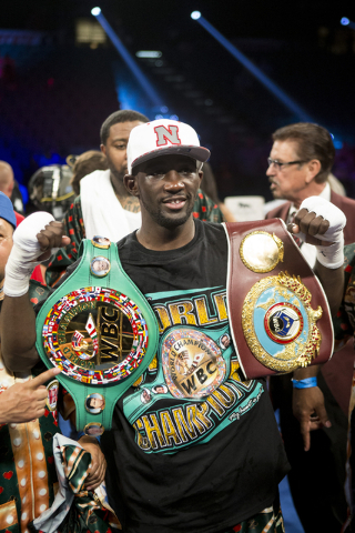 Terence Crawford is photographed after his victory against Viktor Postol in the WBO and WBC World Title bout at the MGM Grand Garden Arena on Saturday, July 23, 2016, in Las Vegas. (Erik Verduzco/ ...