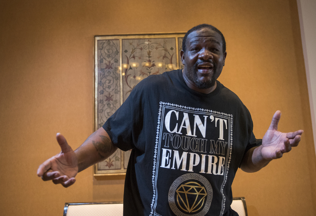 "Former boxing Heavyweight Champion Riddick ""Big Daddy"" Bowe poses for a portrait during the Nevada Boxing Hall of Fame meet and greet event at Caesar's Palace hotel-casino in Las Vegas on Friday,  ..."