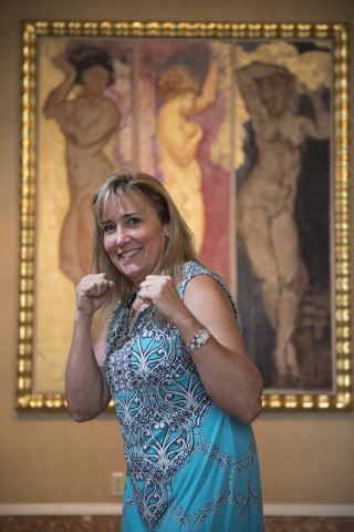 "Former boxing women's lightweight champion Christy ""The Coal Miner's Daughter"" Martin, who now goes by the name Christy Salters, poses for a portrait during the Nevada Boxing Hall of Fame meet and ..."