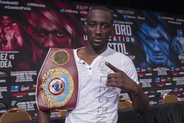 WBO junior welterweight champion Terence Crawford, of Omaha, Neb., poses for a photo during a news conference at the MGM Grand in Las Vegas on Wednesday, July 20, 2016. Crawford is scheduled to fi ...
