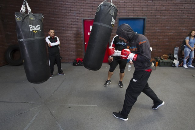 Welterweight boxer Jose Benavidez Jr. hits the bag while training during media day workouts at the Top Rank boxing gym in Las Vegas on Tuesday, July 19, 2016. (Richard Brian/Las Vegas Review-Journ ...