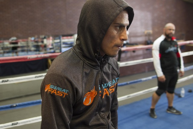 Welterweight boxer Jose Benavidez Jr. stands in the ring during media day workouts at the Top Rank boxing gym in Las Vegas on Tuesday, July 19, 2016. (Richard Brian/Las Vegas Review-Journal) Follo ...