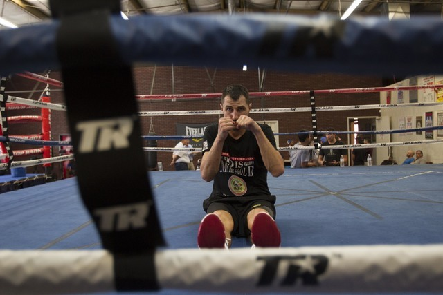 Ukrainian boxer Viktor Postol stretches in the ring during media day workouts at the Top Rank boxing gym in Las Vegas on Tuesday, July 19, 2016. (Richard Brian/Las Vegas Review-Journal) Follow @ve ...