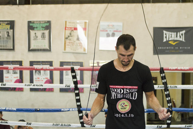 Ukrainian boxer Viktor Postol jumps rope in the ring during media day workouts at the Top Rank boxing gym in Las Vegas on Tuesday, July 19, 2016. (Richard Brian/Las Vegas Review-Journal) Follow @v ...