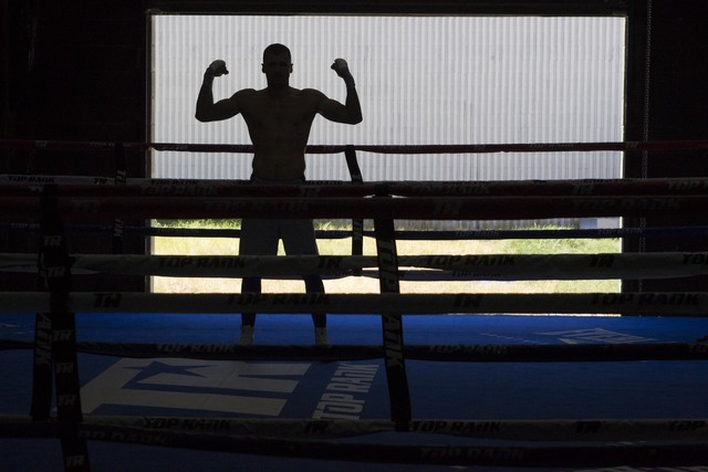 Ukrainian boxer Oleksandr Gvozdyk flexes as he stands in the ring during media day workouts at the Top Rank boxing gym in Las Vegas on Tuesday, July 19, 2016. (Richard Brian/Las Vegas Review-Journ ...
