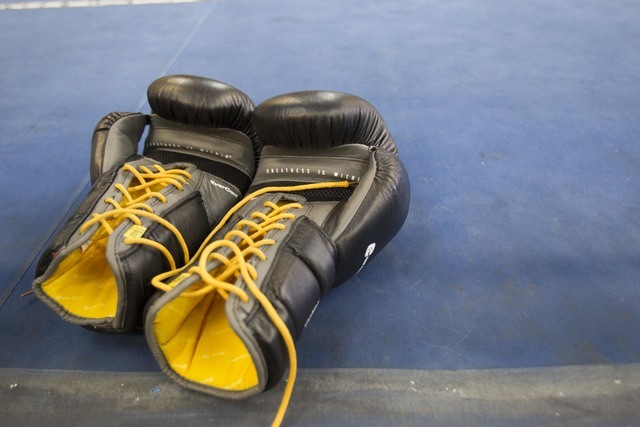 The gloves of boxer Terence Crawford are seen in the ring during media day workouts at the Top Rank boxing gym in Las Vegas on Tuesday, July 19, 2016. (Richard Brian/Las Vegas Review-Journal) Foll ...