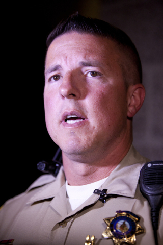 Sgt. Jeff Clark addresses the press at the Metro Northwest Area Command station in Las Vegas on Thursday, June 7, 2016, after the police shootings in Dallas. Metro is currently doubling up their p ...