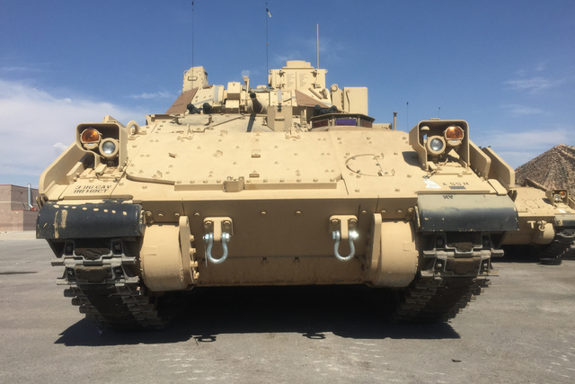 One of the Nevada Army National Guard's new Bradley Fighting Vehicles sits at the Clark County Armory lot, Thursday, July 28, 2016. (Keith Rogers/Las Vegas Review-Journal)