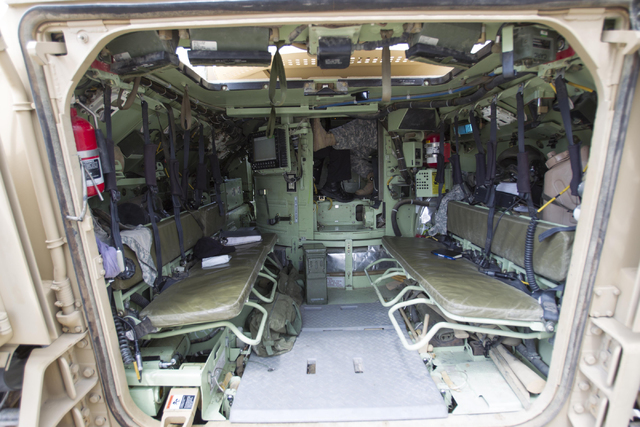A look inside the passenger area of an A-3 Bradley fighting vehicle at the Clark County Armory on Friday, July 29, 2016. Richard Brian/Las Vegas Review-Journal Follow @vegasphotograph