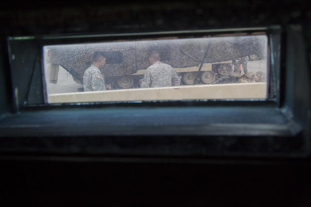 A look through the armored glass of an A-3 Bradley fighting vehicle during a training exercise at the Clark County Armory on Friday, July 29, 2016. Richard Brian/Las Vegas Review-Journal Follow @v ...