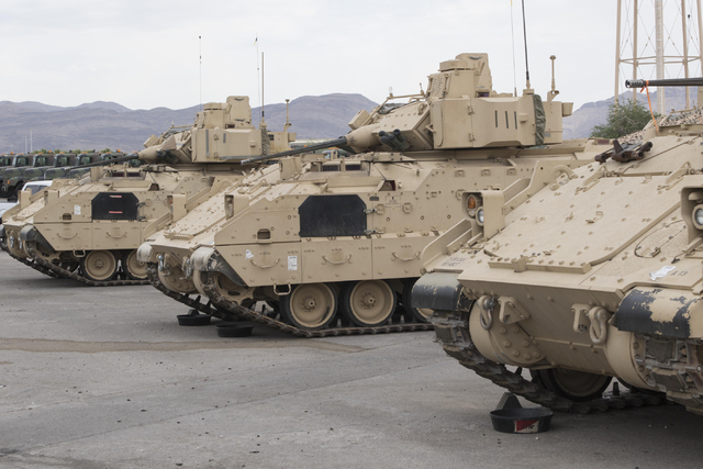 A-3 Bradley fighting vehicles are seen during a training exercise at the Clark County Armory on Friday, July 29, 2016. Richard Brian/Las Vegas Review-Journal Follow @vegasphotograph