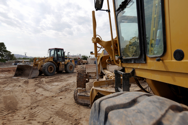 Tractors are seen at the construction site for Lincoln Elementary school in North Las Vegas on Tuesday, June 21, 2016. Rachel Aston/Las Vegas Review-Journal Follow @rookie__rae