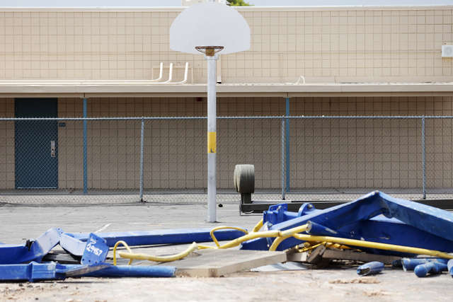 A basketball hoop and debris are seen at the construction site for Lincoln Elementary school is seen in North Las Vegas on Tuesday, June 21, 2016. Rachel Aston/Las Vegas Review-Journal Follow @roo ...