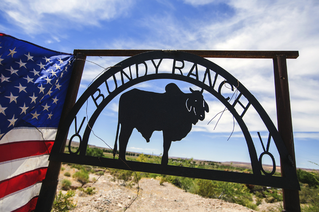 A Bundy Ranch sign near Bunkerville, Nev. greets visitors on Thursday, May 19, 2016. (Jeff Scheid/Las Vegas Review-Journal) Follow @jlscheid