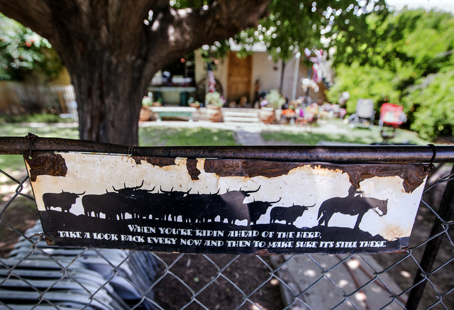 A sign is posted on a fence at the Bundy Ranch in Bunkerville, Nev., on Thursday, May 19, 2016. Jeff Scheid/Las Vegas Review-Journal Follow @jlscheid