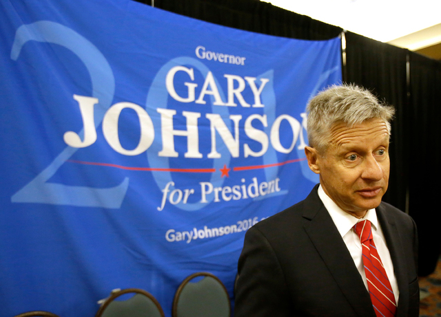 Libertarian presidential candidate Gary Johnson speaks to supporters and delegates at the National Libertarian Party Convention, in Orlando, Fla., on Friday, May 27. (John Raoux/The Associated Press)