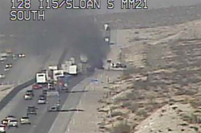 A vehicle fire on southbound Interstate 15 near Jean is blocking the right travel lane, Tuesday, July 26, 2016. (RTC FAST Cameras)