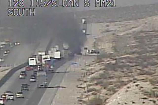 Vehicle fire blocking I-15 southbound lane near Jean   Las Vegas
