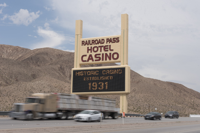 Railroad Pass hotel-casino at 2800 S. Boulder Highway in Henderson is seen as traffic passes by the marquee in Henderson on Friday, July 29, 2016. The hotel-casino celebrates its 85th anniversary  ...